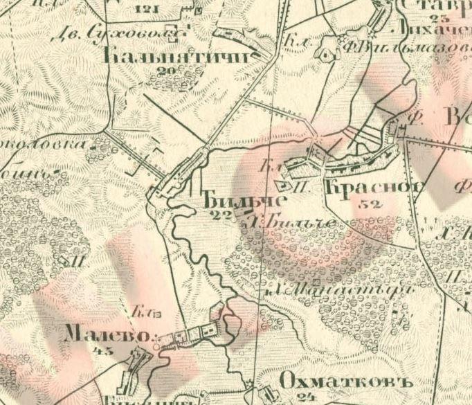 Село Більче з околицями, мапа 1873 року.